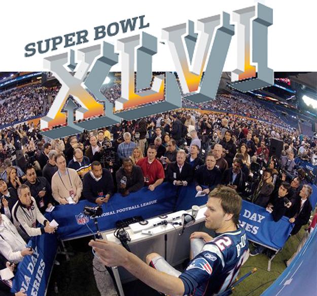 New England Patriots quarterback Tom Brady answers questions during Media Day at Super Bowl XLVI today.