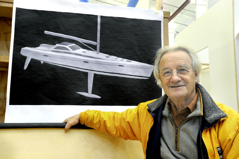 Stanley Paris with a depiction of the completed sailboat.