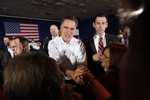 Republican presidential candidate Mitt Romney greets supporters at a campaign rally in Grand Junction, Colo. on Monday, Feb. 6, 2012. (AP Photo/Gerald Herbert)