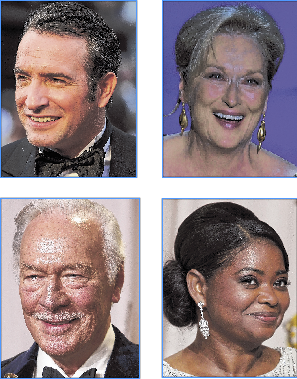 Clockwise from upper left: Best Actor, Jean Dujardin; Best Actress, Meryl Streep; Supporting Actor, Christopher Plummer; Supporting Actress, Octavia Spencer.