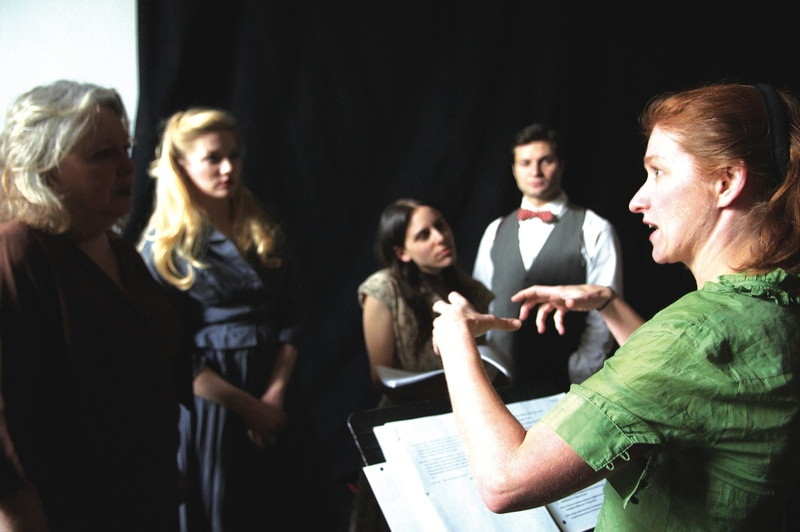 """Director Sally Wood, far right, discusses """"Hidden Tennessee"""" with the cast (from left, Maureen Butler, Courtney Moors, Sarah Lord and Justin Adams). The show previews Tuesday to Thursday, and opens Friday at Portland Stage Company, 25A Forest Ave. It includes one-act plays and a short story. Tickets are $15 to $39. Call 774-0465 or visit portlandstage.org."""