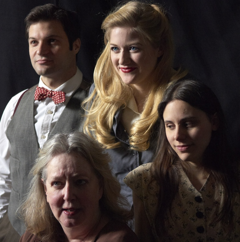 """Justin Adams, Maureen Butler, Courtney Moors and Sarah Lord in the opening moments of Portland Stage Company's production of """"Hidden Tennessee"""" by Tennessee Williams, opening this week and continuing through March 18. new keyword"""
