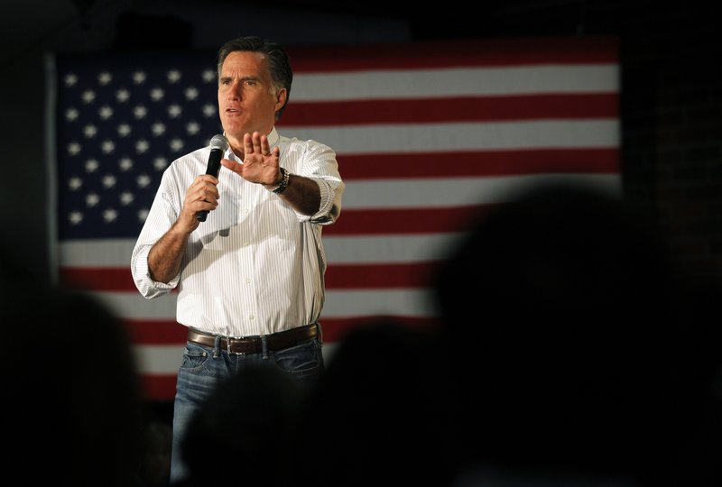 Former Massachusetts Gov. Mitt Romney, a GOP presidential candidate, speaks at a campaign rally in Atlanta on Wednesday.