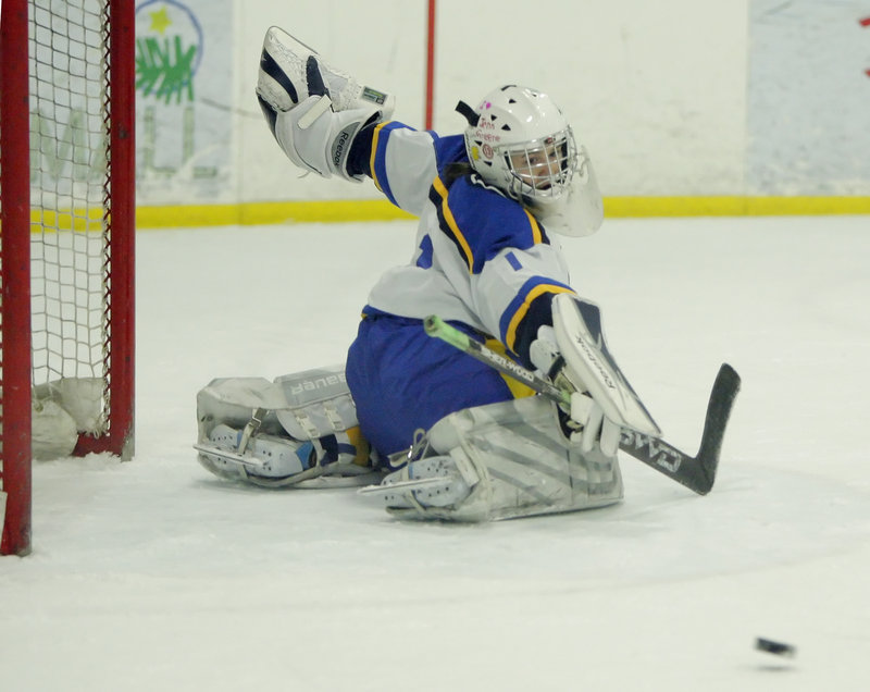 Kirsten Mazur may be just 5 feet tall, but she came up big again Wednesday for Falmouth, throwing a shutout against York in a 4-0 victory that carried the Yachtsmen to the West championship at the Portland Ice Arena.