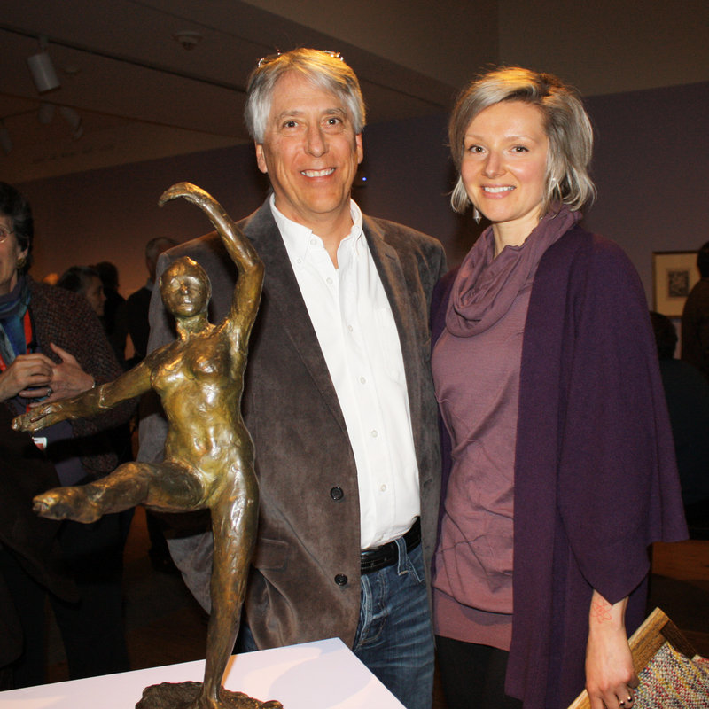 """Les Otten and artist Veronica Cross with the Degas bronze """"Fourth Position in Front on the Left Leg,"""" which was lent to the show by Otten."""
