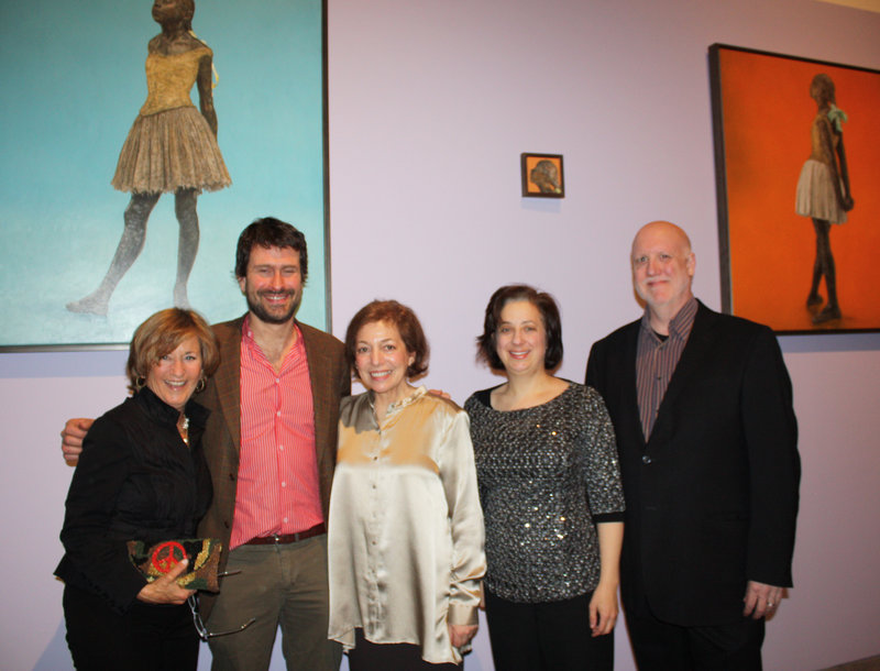 Artist Jane Sutherland, center, stands in front of her Degas-inspired paintings with Melinda Weber, Dan Sonenberg, Jennifer Elowitch and Douglas Chene.