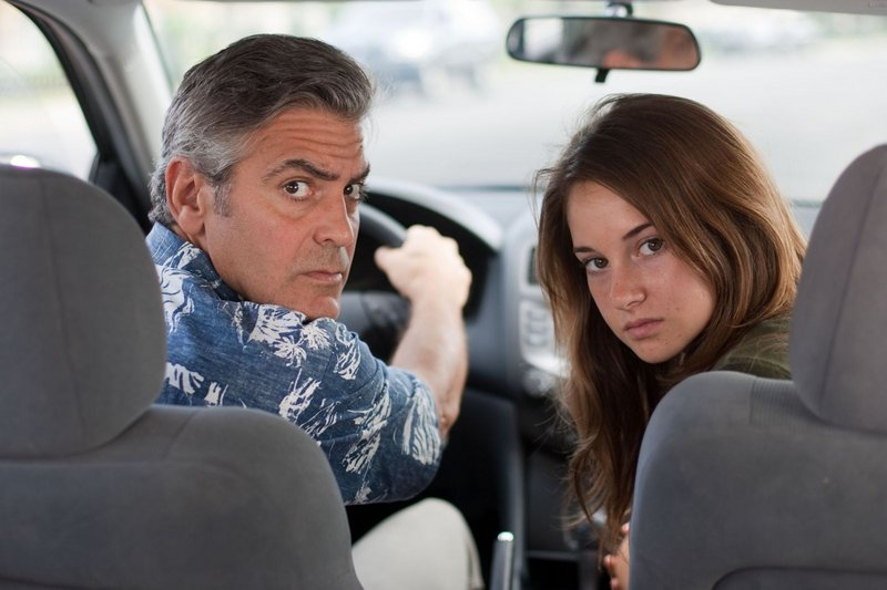 George Clooney as Matt King and Shailene Woodley as Alex in