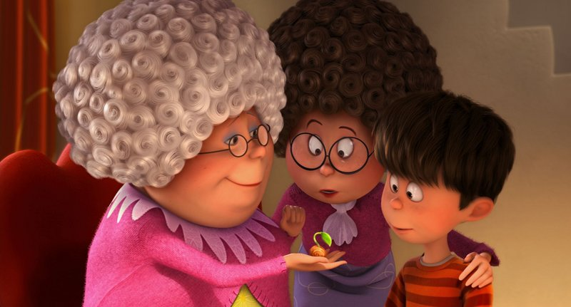 Grammy Norma (Betty White) shows Ted's mom (Jenny Slate) and Ted (Zac Efron) a rare seedling.