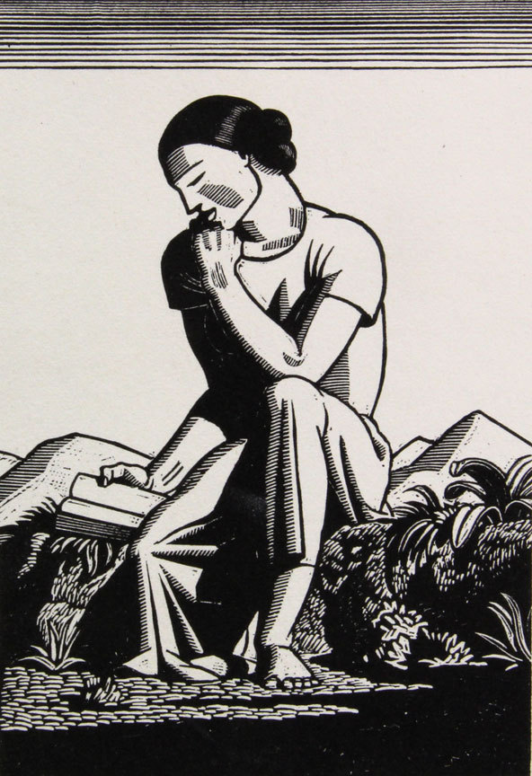 """""""The Reader"""" by Rockwell Kent, from """"The Art of the Book,"""" an exploration of the museum's collection of rare books, continuing through April 1 at the Farnsworth Art Museum in Rockland."""
