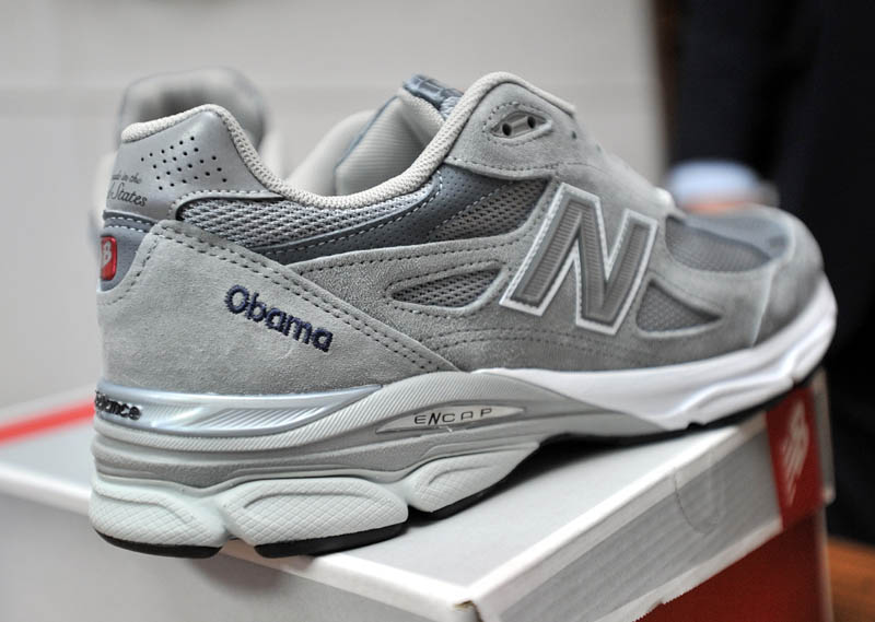 The pair of New Balance running shoes custom made at the Norridgewock plant for President Obama.
