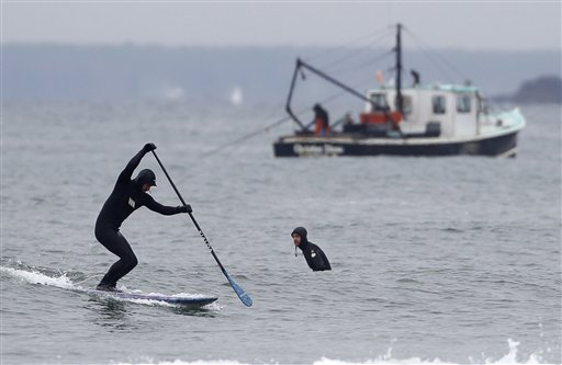A paddle surfer gets set to catch a wave while a fishing boat works in the background today at Higgins Beach in Scarborough. This year, the warm water temperatures could result in lobsters molting their shells and moving toward shore earlier than usual.