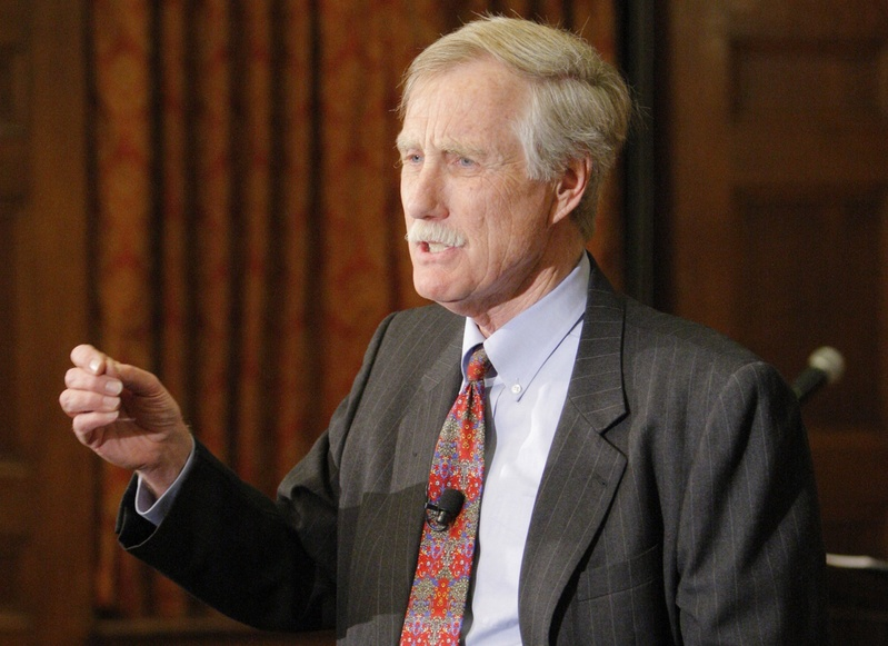 After a lecture at Bowdoin College on Monday night on the Cuban Missile Crisis, Angus King announces that he is running for the U.S. Senate seat being vacated by Olympia Snowe. King enters a political environment that is more divisive and bitter than during his previous campaigns.
