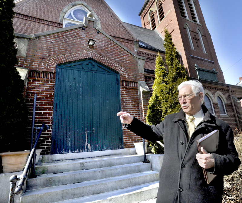 Paul Stevens, a great-grandson of architect John Calvin Stevens, talks about the historic features of the Williston-West Church on Thomas Street in Portland. A prominent Australian businessman is seeking a zoning change to permit offices at the church's attached parish house.