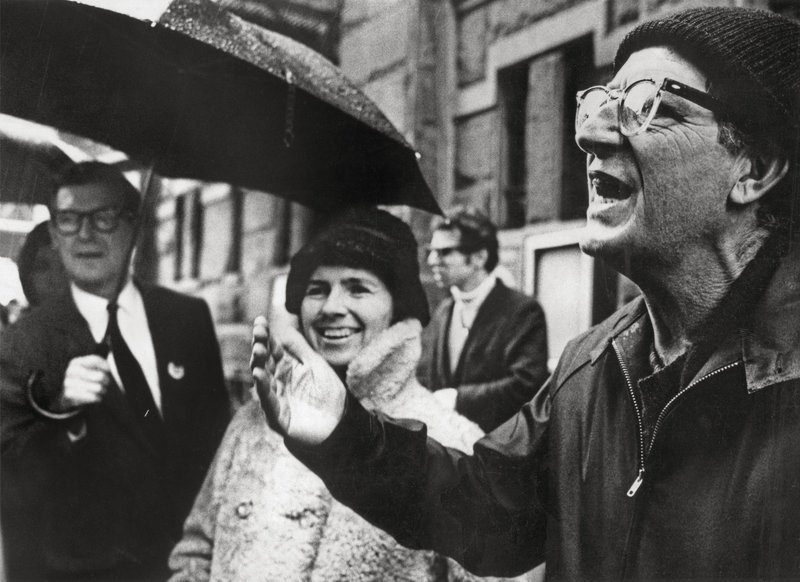 Paul Goodman at an anti-war protest with fellow writer and activist Grace Paley.