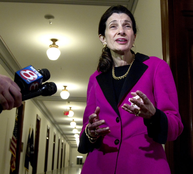 Sen. Olympia Snowe, R-Maine, speaks to the media Tuesday outside her office on Capitol Hill after announcing her decision not to run for re-election this fall, citing political gridlock.