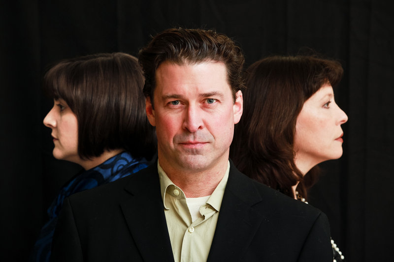 """Molly W. Bryant Roberts, Paul Drinan and Laura Graham star in Dramatic Repertory Company's """"A Nervous Smile"""" tonight through March 18."""