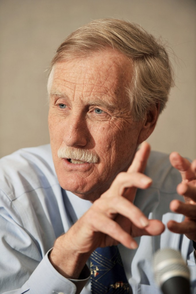 Angus King answers questions during an interview Tuesday at the Press Herald offices in Portland.