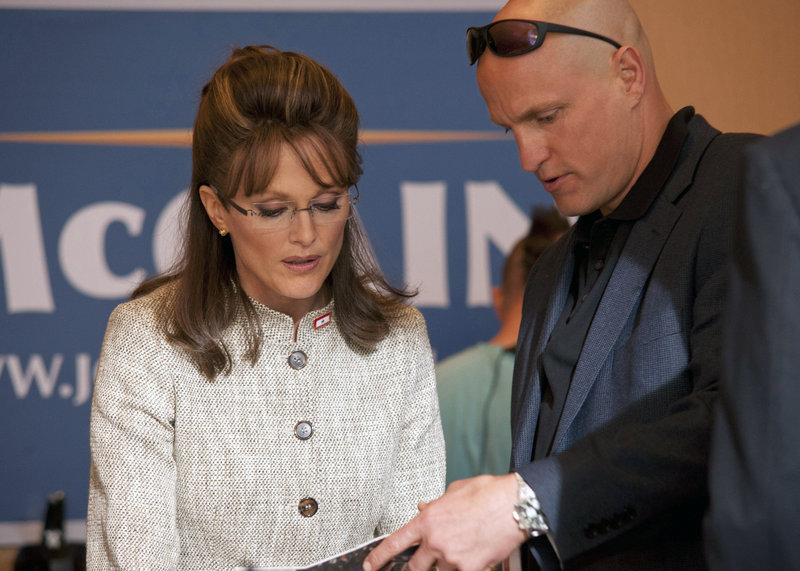 """Julianne Moore portrays Sarah Palin and Woody Harrelson plays Sen. John McCain's campaign strategist, Steve Schmidt, in """"Game Change,"""" an HBO film about Palin and the 2008 presidential race."""