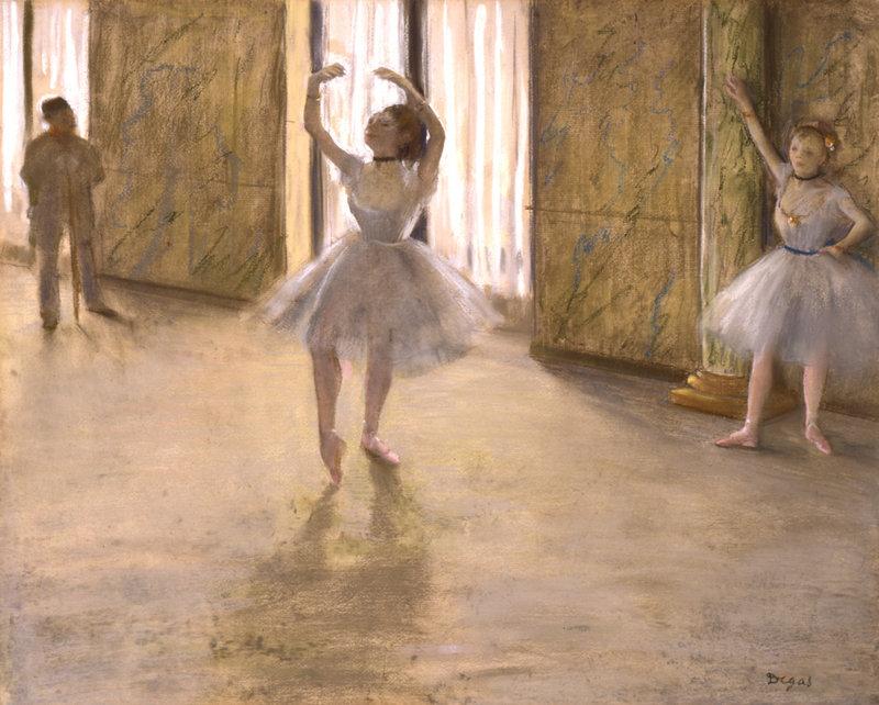 "Works in ""Edgar Degas: The Private Impressionist"" include ""Le Lecon de Danse (The Dancing Lesson),"" pastel on monoprint on paper, circa 1877 ..."