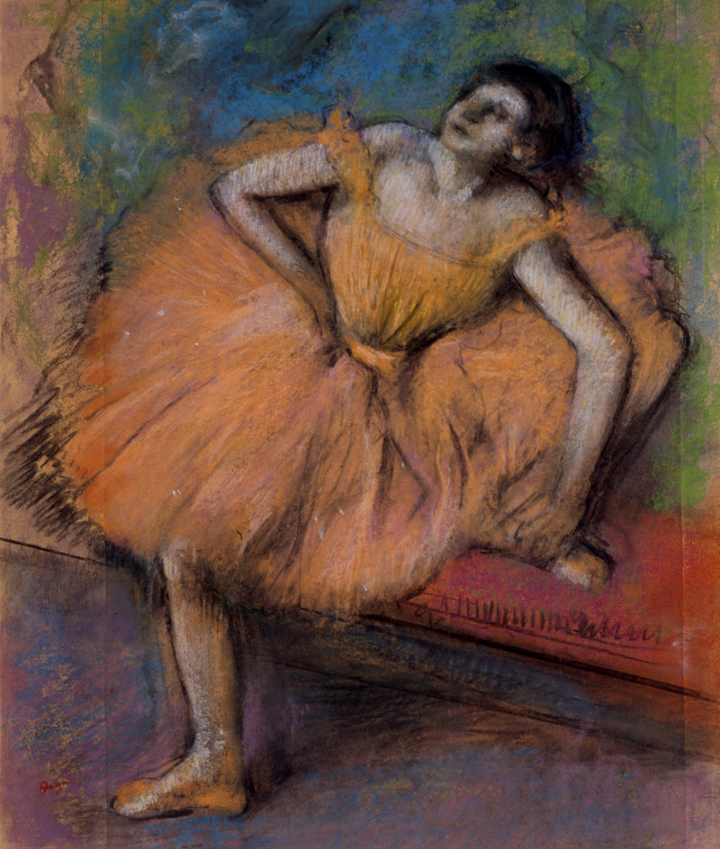 """... """"Danseuse Assise (Seated Dancer),"""" pastel on joined paper mounted on board, 1894 ..."""