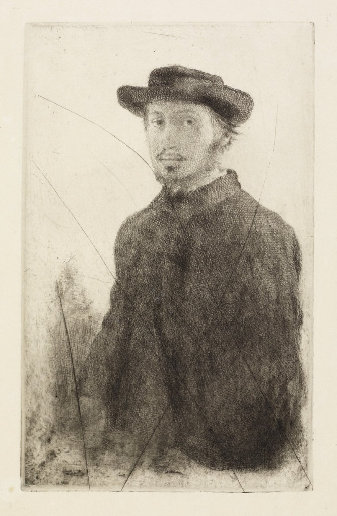 """... and """"Edgar Degas: Self Portrait,"""" etching and drypoint from canceled plate, 1857."""