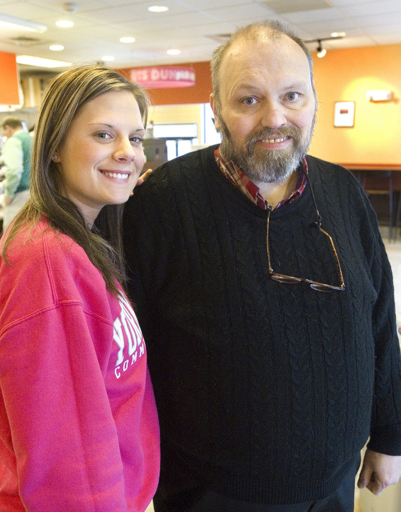 "Ashley Caston and Jim Scanlon held a reunion at Dunkin' Donuts in Kennebunk on Friday afternoon. ""I'm so glad you wrote that thing on the website,"" he told her."