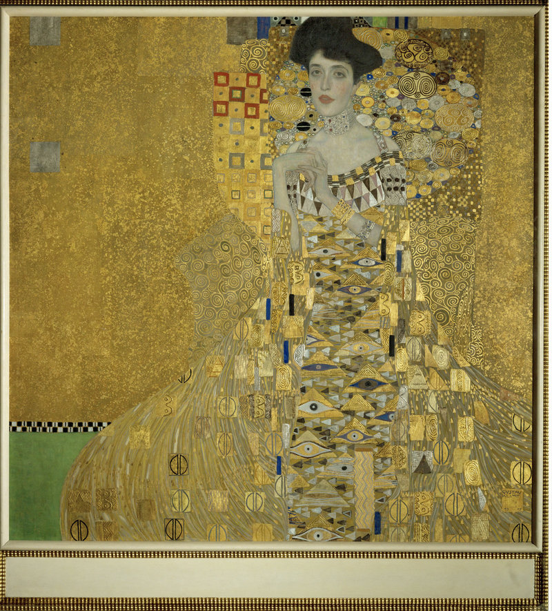 """The painting """"Adele Bloch-Bauer I"""" is one of five Gustav Klimt paintings that were stolen from Maria Altmann's family by the Nazis in 1938. Altmann's efforts to recover the paintings are featured in the film """"Stealing Klimt,"""" to be shown today at the Maine Jewish Film Festival. The painting sold for $135 million about five years ago."""
