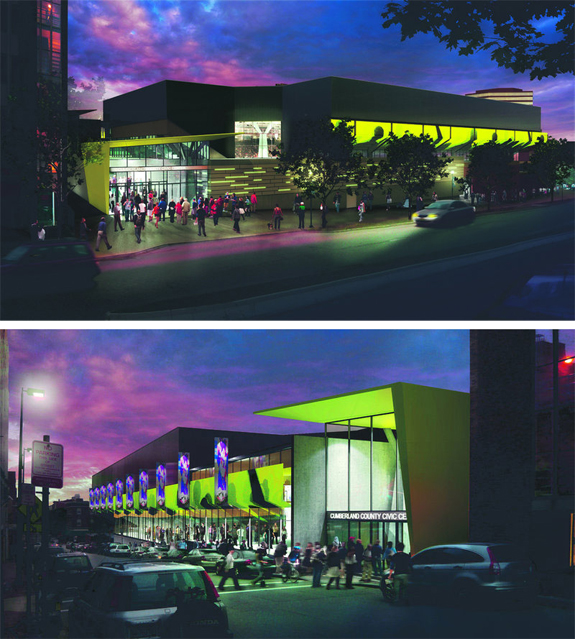 An artist's rendering of how the renovated Civic Center will look, on the Spring Street side (top) and the Free Street side.