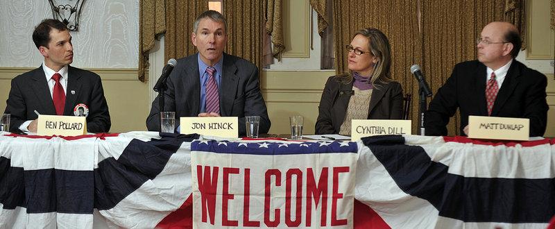 Democratic candidates for U.S. Senate debate at the Portland Club on Saturday. From left are businessman Benjamin Pollard, state Rep. Jon Hinck, state Sen. Cynthia Dill and former Secretary of State Matthew Dunlap.