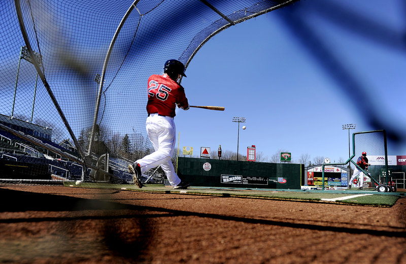 Sea Dogs outfielder Bryce Brentz rockets a line drive to left field during batting practice at Hadlock Field as part of Media Day activities Tuesday. Portland's home team, the Double-A minor league affiliate of the Boston Red Sox, opens its 2012 season Thursday at Reading, Pa., and hosts the Binghamton Mets in the home opener on April 12.