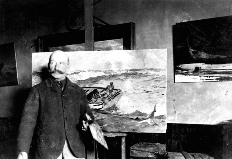 """An albumen print from around 1900 titled """"Winslow Homer with 'The Gulf Stream' in his painting room at Prouts Neck,"""" by an unknown photographer, shows the Maine studio where the artist created some of the most iconic images in American art history."""