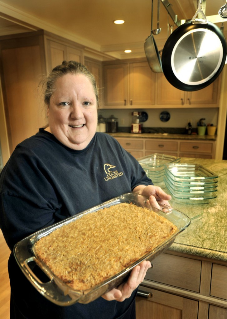 Susie Konkel baked 20 of her signature oatmeal cakes for a fundraising dinner, where they were auctioned off. Only 13 of the 20 cake pans have found their way back to her, and one of the missing dishes was a wedding gift to her mother in 1960.