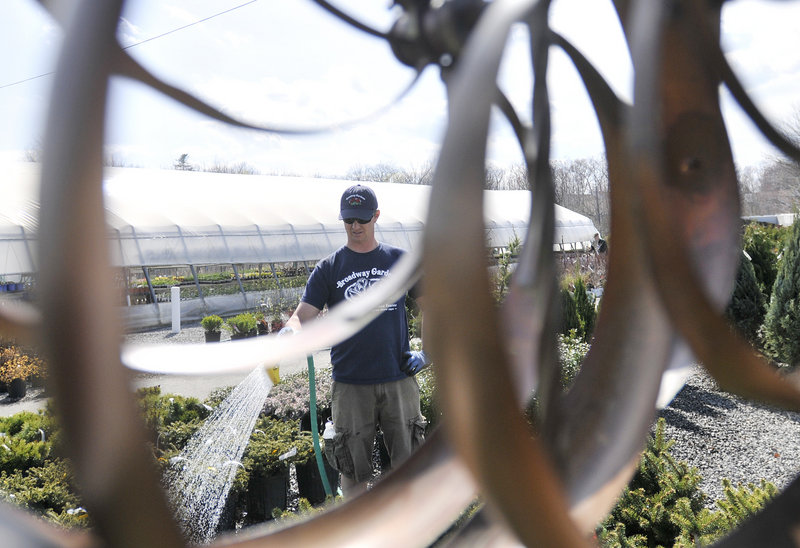 Jody DeKubber of Broadway Gardens is framed through a garden decoration as he waters. Rainfall is below average so far this month.