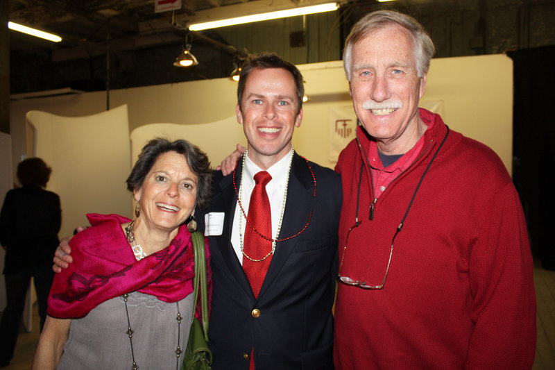 Former Maine first lady Mary Herman, ILAP interim executive director Hayden Anderson and former Maine Gov. Angus King, who is running for the U.S. Senate.