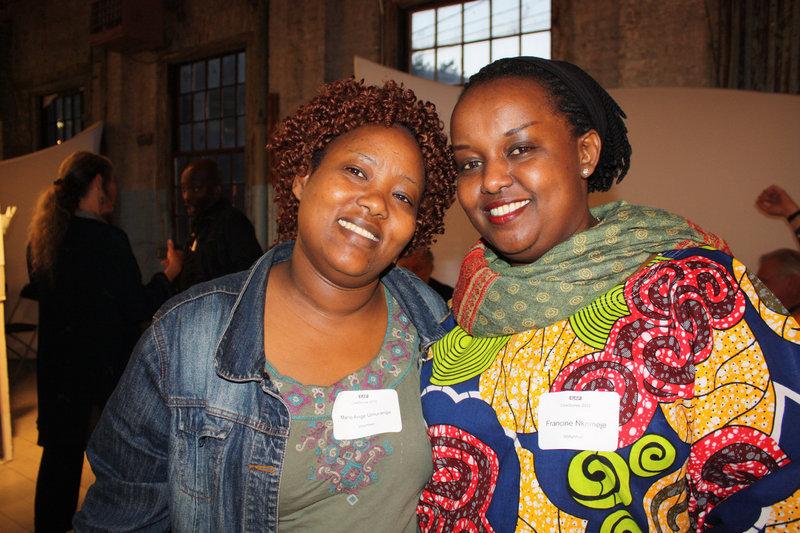 Volunteers Marie Ange Umurange and Francine Nkomeje.