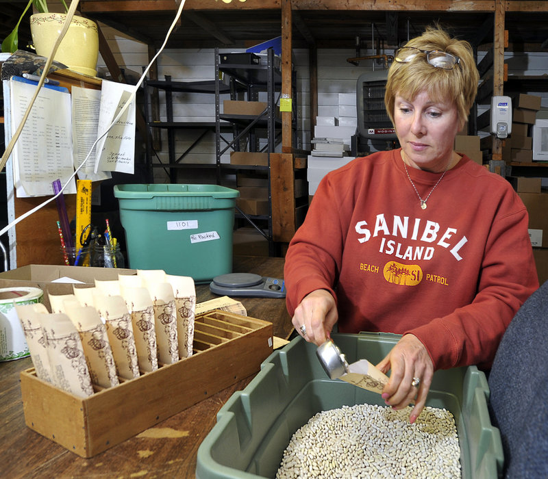"Marybeth Dunham, an employee at Pinetree Garden Seeds in New Gloucester, fills envelopes with seeds for ""Slenderette Beans"" for shipping."