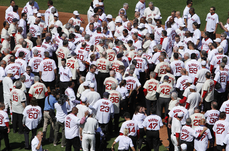 Some had black hair, some had white. Some had no hair at all. Didn't matter. Didn't matter when they played or how they played. Just that they played for the Boston Red Sox, and on Friday, the 100th anniversary of the first game at Fenway Park, the only thing that mattered was they were together again. On the field. In front of fans.