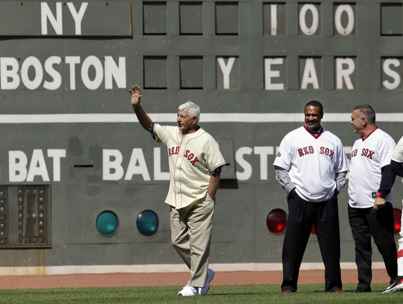 Carl Yastrzemski, waving, was part of generations of great left fielders in Fenway Park that included the late Ted Williams and continued with Hall of Famer Jim Rice, center. Bernie Carbo, right had his own great moment in Fenway, hitting a clutch 1975 World Series homer.