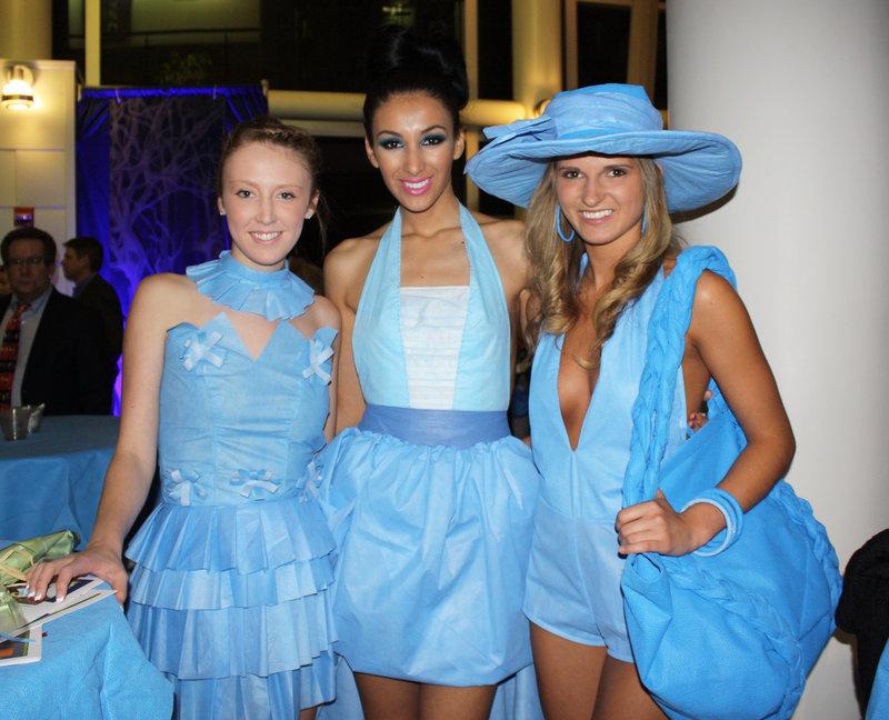 Models Emalie Esty (wearing Zeljka Rakovic), Aleksandra Derikonja (wearing Erika Lynn Smith) and Tara Cavanagh (wearing Neenka Simanic).