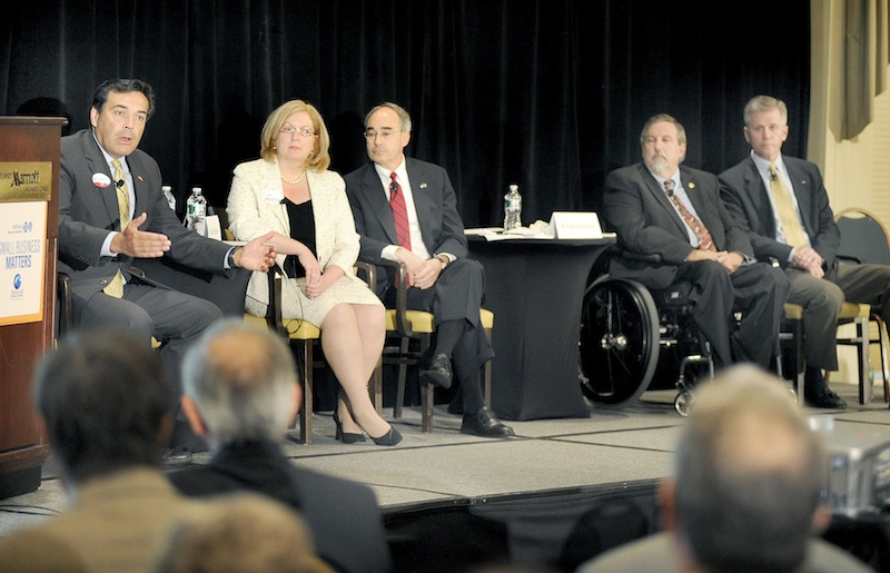 This photos shows the Portland Regional Chamber's candidate forum for Maine Republican U.S. Senate contenders on Wednesday, May 23, 2012 at the Sable Oaks Marriott in South Portland. From left to right: Rick Bennett, Debra Plowman, Bruce Poliquin, William Schneider and Charlie Summers.