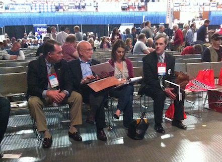 Benjamin Ginsberg, second from left, is Mitt Romney's top lawyer. He's seen here at the Maine Republican State Convention on Sunday. Ginsberg was sent to Maine to deal with an assortment of legal issues stemming from the convention takeover by the Ron Paul campaign.