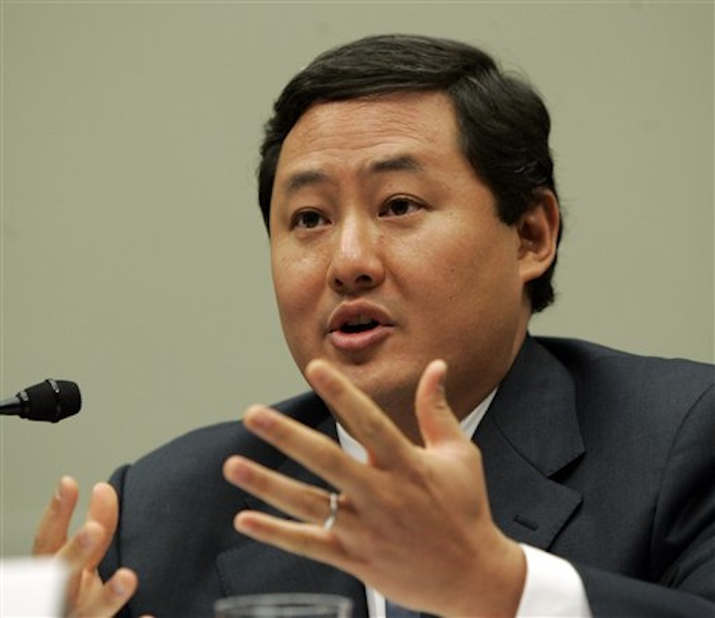 In this Thursday, June 26, 2008 file photo, John Yoo, a law professor at the University of California at Berkeley, testifies on Capitol Hill in Washington. An appeals court said Wednesday, May 2, 2012, that a former senior Department of Justice lawyer who wrote the so-called