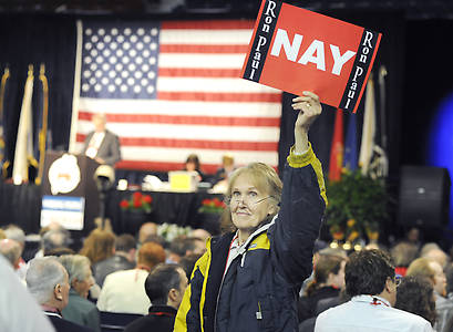 Cumberland County delegate Janet Psonak shows her preference at the GOP State Convention at the Augusta Civic Center on Saturday, May 5, 2012.