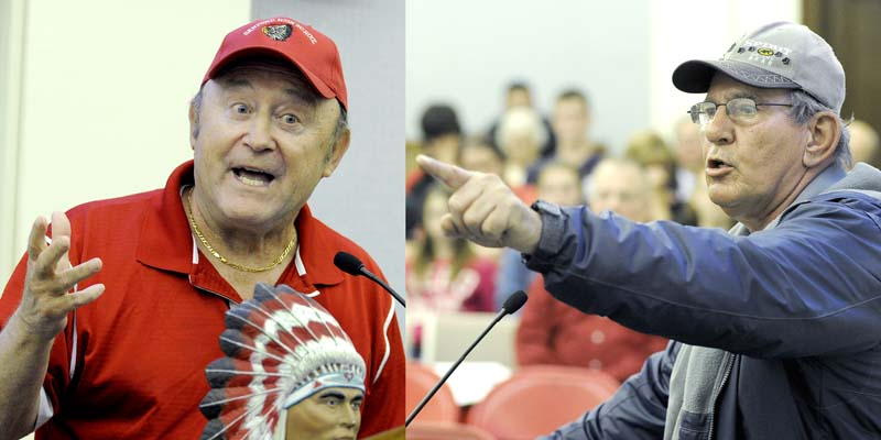 Feelings on both sides of the issue ran high Monday night at a hearing on changing the name of the Sanford High School Redskins. Retired teacher and coach Roland Cote, left, with a Native American figurine, speaks against giving up the name, noting that students never really had a chance to weigh in. Brenton Allaire, right, of Native American background, supported changing the name, saying it only adds insult to injury for a school to continue using the name.