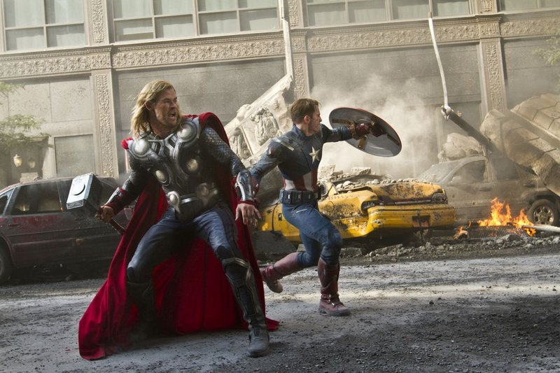 """Thor (Chris Hemsworth) and Captain America (Chris Evans) join forces in """"The Avengers."""""""