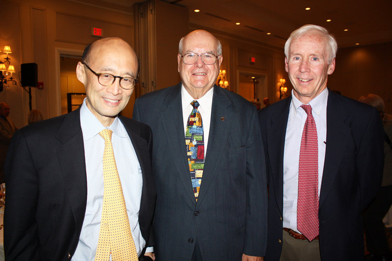 Dr. Thomas Le, the event's keynote speaker, Dr. Bob McAfee, who was honored at the party, and Dr. Sean Hanley, who chairs the board of the Hanley Center, which is named after his father.
