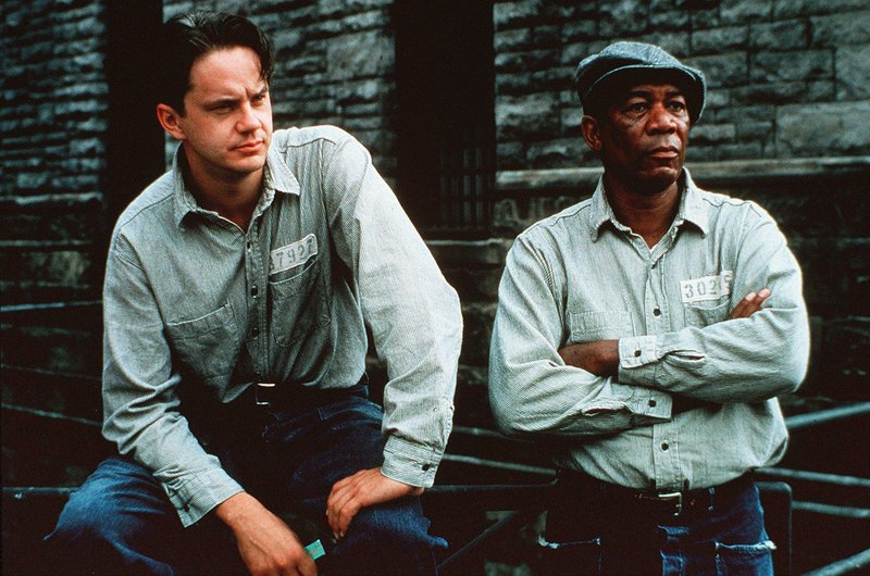 "Tim Robbins and Morgan Freeman in ""The Shawshank Redemption"""