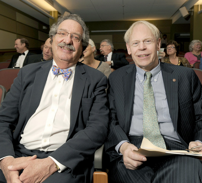 S. Donald Sussman, left, Earle G. Shuttleworth Jr., each received Maine College of Art honorary doctorates and Art Honors for their leadership in art philanthropy and community service.