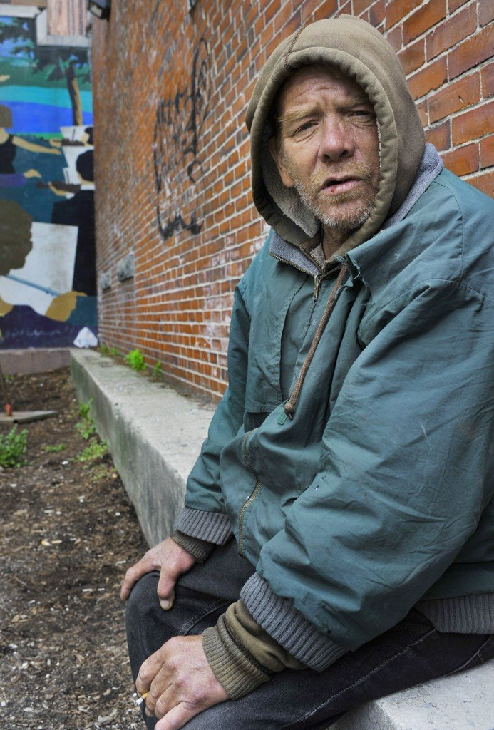 """Joseph Morris, 53, a homeless man who spends a lot of time at Congress Square Plaza, said he doesn't want to see it change. """"They should keep it exactly the way it is,"""" he said."""