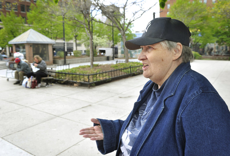 """Seventy-year-old Janice Cole, who lives next to Congress Square Plaza, says she doesn't like to come to the Portland park because it can be a magnet for homeless people and sometimes it doesn't feel safe. """"It's really quite sad,"""" she said."""
